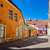 Exterior of an orange painted old house in the historical center of Tallinn, Estonia, Eastern Europe