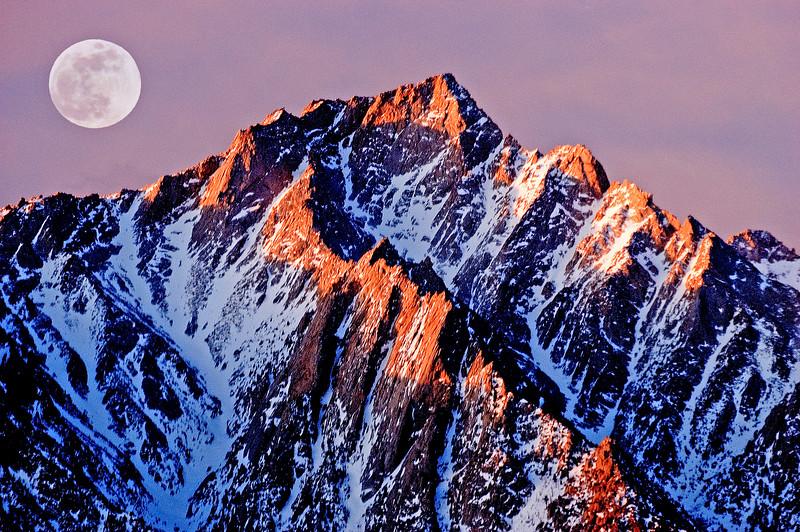 Lunar Sunrise        Sierra Nevada mountains, California