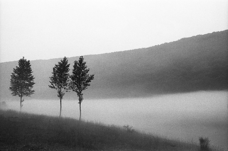 Nuit et Brouillard sur la Vistule.  Hommage à Alain Resnais. Banks of the Wisla, Aushwitz, Poland, (Circa 1977). Original Fine Art Documentary Photograph by Michel Botman © north49exposure.com