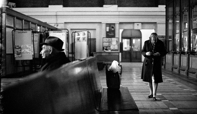 Train station.  Belgium (Circa 1980). Original Fine Art Documentary Photograph by Michel Botman © north49exposure.com
