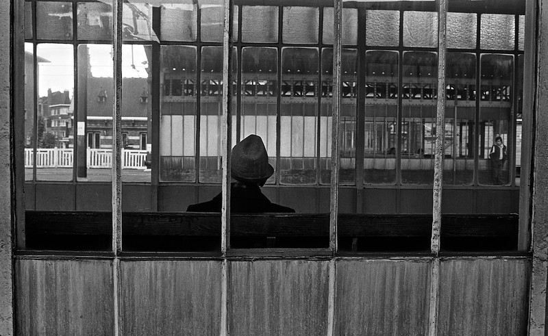 Train station.  Belgium (Circa 1980). Original Fine Art Documentary Photograph by Michel Botman © north49exposure.com