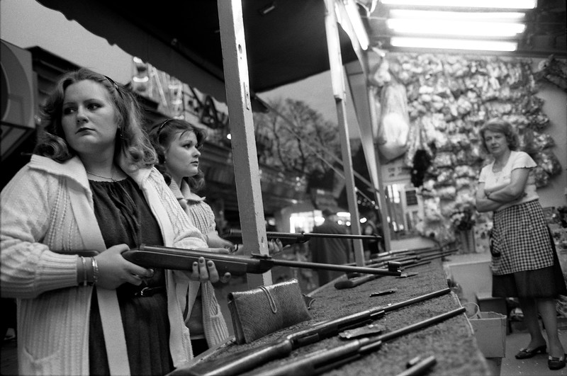 Jumelles et carabines, Foire de Liege, Belgium (Circa 1980). Original Fine Art Documentary Photograph by Michel Botman © north49exposure.com