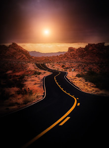 The RoadValley of Fire, Nevada  Go to the light... on a road...  that is going there.  Avoid the others.