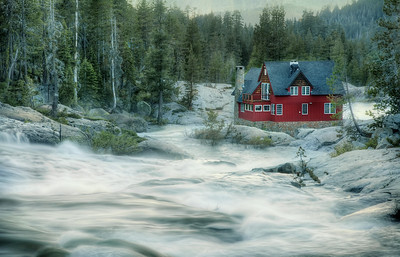 Red House On The Roaring River Winter 2010-11 kicked our butts. I know we weren't alone, but up here in the Sierra Nevadas, we had match-point record snowfall. At 50-60 feet depending on where you were standing, it didn't actually break all the records… but it was jawdropping all the same. And interminable. I mean, people tunneled down into their homes, okaayyy? I mention this because when you have record snowfall, it means record snowmelt too. This was the Yuba River near Big Bend on July 4th. Water level higher even than it was 2 weeks before… and so dangerous even the gnarliest kayakers were benched. This house had the best view… although I think if you lived there, you'd have gone deaf from the constant roar. Man, nature amazes me.    ©Karen Hutton - Creative Commons (CC BY-NC 3.0)