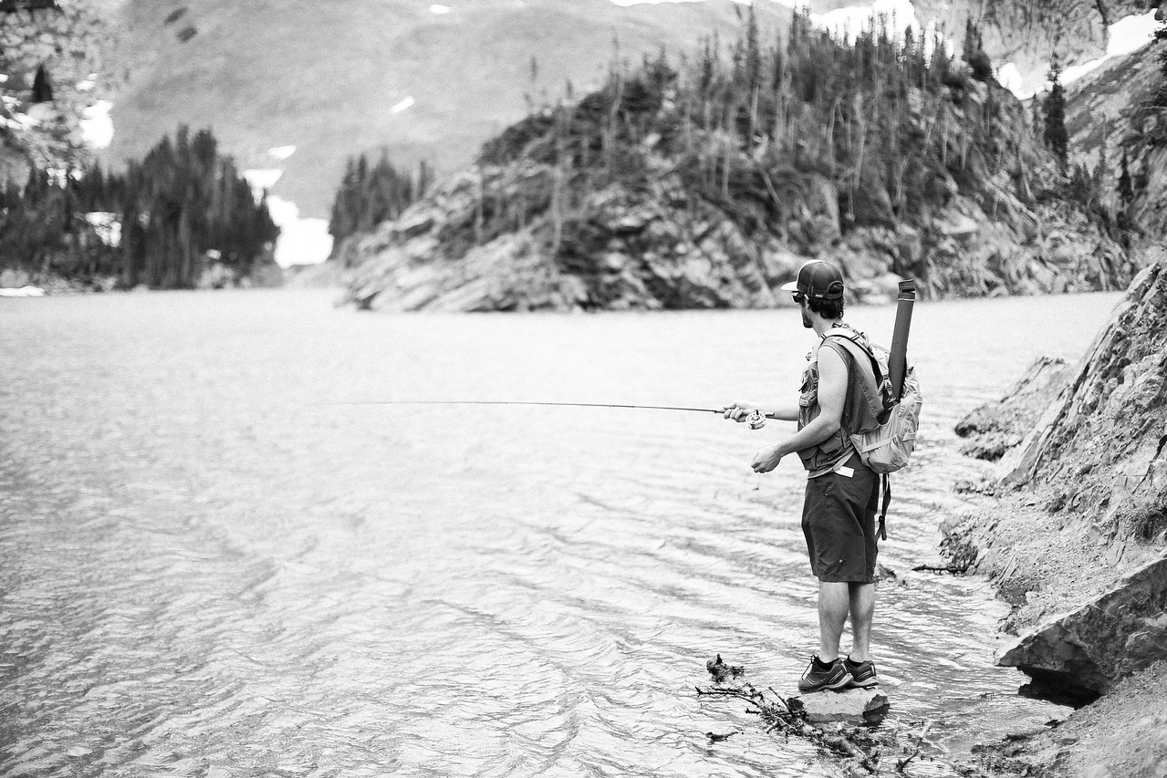 Fly fishing a Lake Agnes