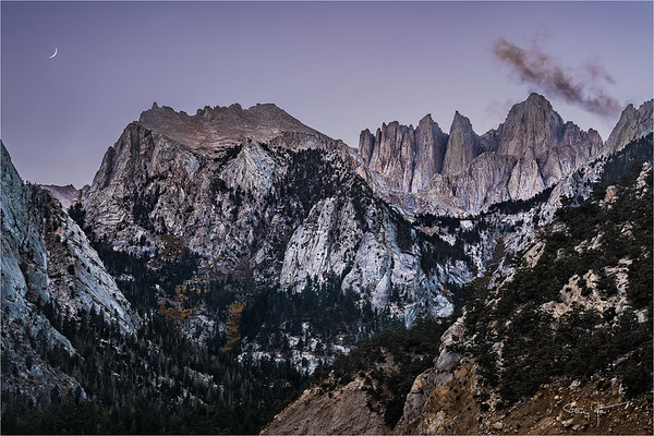 Twilight Crescent Moon, Mt. Whitney
