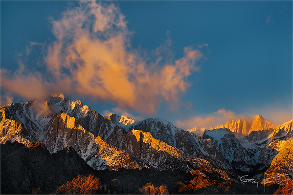 Winter Sunrise, Lone Pine Peak and Mt. Whitney, Eastern Sierra