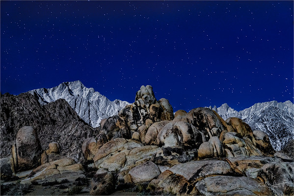 Sierra Moonlight, Mt. Whitney and the Alabama Hills, California