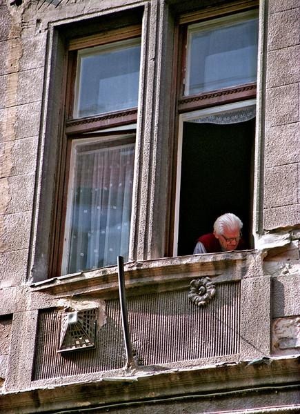Budapest, man in window