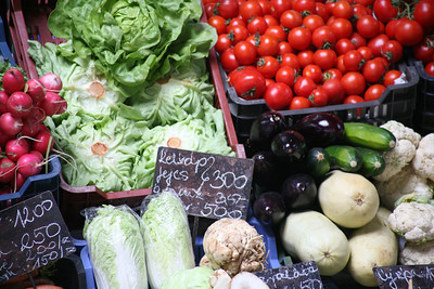 Produce for sale, town market, Eger, Hungary