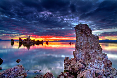 Intense sunrise looking out from Tufas on Mono Lake