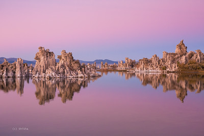 Mono lake and the tufas. This picture was shot post sunset when the beautiful pink streaks are around and lighting is uniform