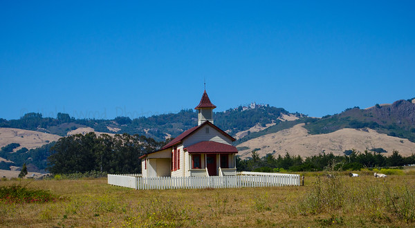 Little Church on the Prairie Across From the Ocean