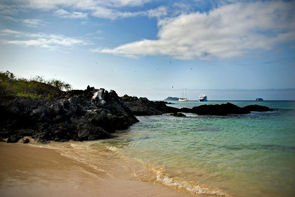 Galapagos Islands, cruise ships at moorings
