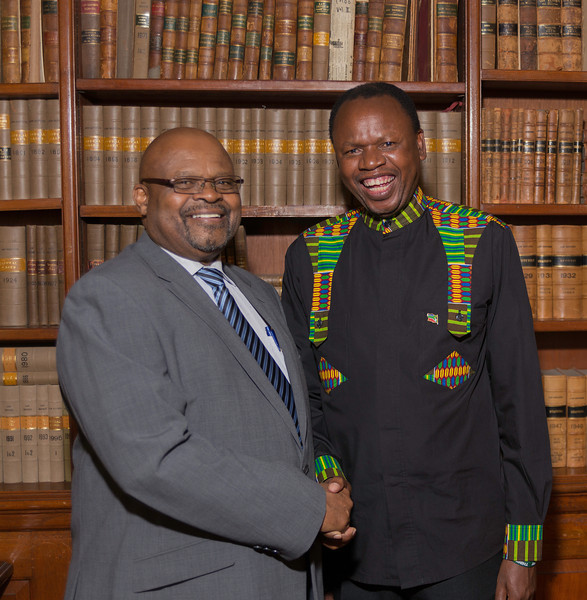 The South African High Commissioner, Obed Mlaba with Letlapa Mphahlele