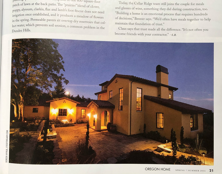 Oregon Home magazine spring-summer 2014 edition; evening exterior shot of a custom Cellar Ridge home