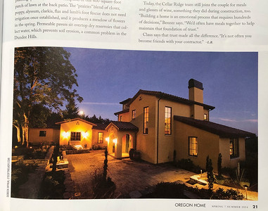 Oregon Home magazine spring-summer 2014 edition; evening exterior shot of a custom Cellar Ridge home