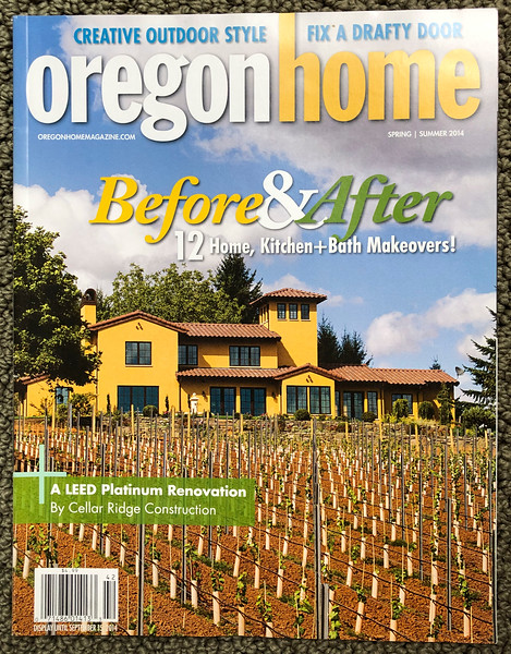 Cover shot on Oregon Home magazine spring summer 2014 of a custom stucco Cellar Ridge home