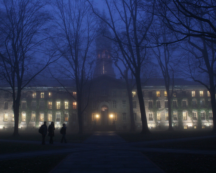 Nassau Hall at dusk.