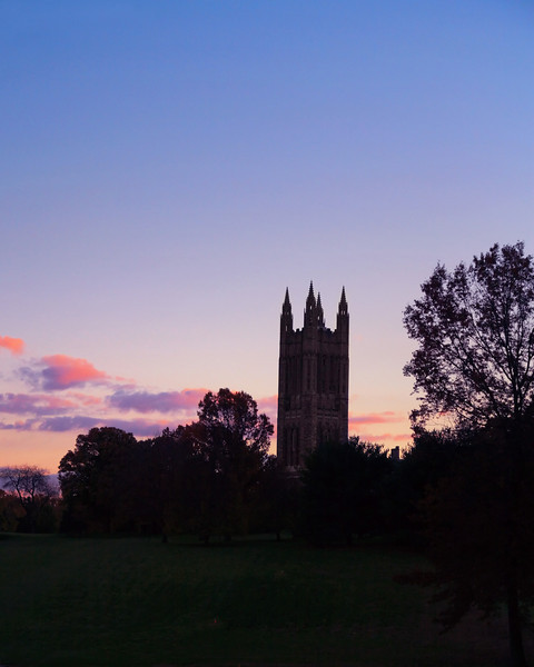 Princeton University Graduate College at sunset.