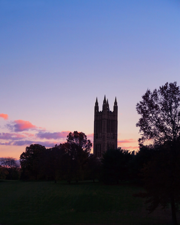 Princeton University Graduate College at sunset.