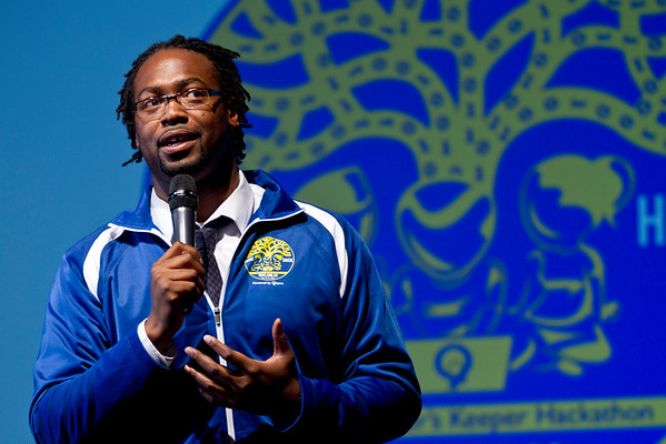 "Kalimah Priforce, Founder and Headmaster of Qeyno Labs shares his story with youth in Oakland, California on March 22, 2015. His organization seeks to ""hack isolation"" as he did as a boy in an orphanage who went on a hunger strike to get new books in the library."