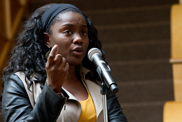 Mercy Quaye, a New Haven resident ask a question of the panelist during the Liberty And Justice For All: Exploring Racial Profiling event hosted by the Department of Cultural and Global Engagement at Quinnipiac University on February 4, 2015.