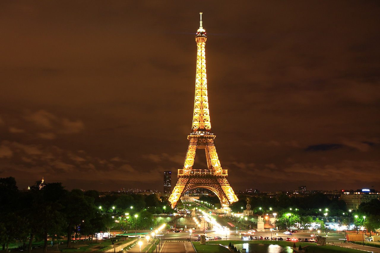 Did not have the tripod. So rested the camera on concrete, elevated it at an angle by keeping Rick Steve's Paris guide underneath. (Thanks Rick Steves !!) The tower is so bright at night.. it lights up the sky. Only basic processing. No photo shopping.