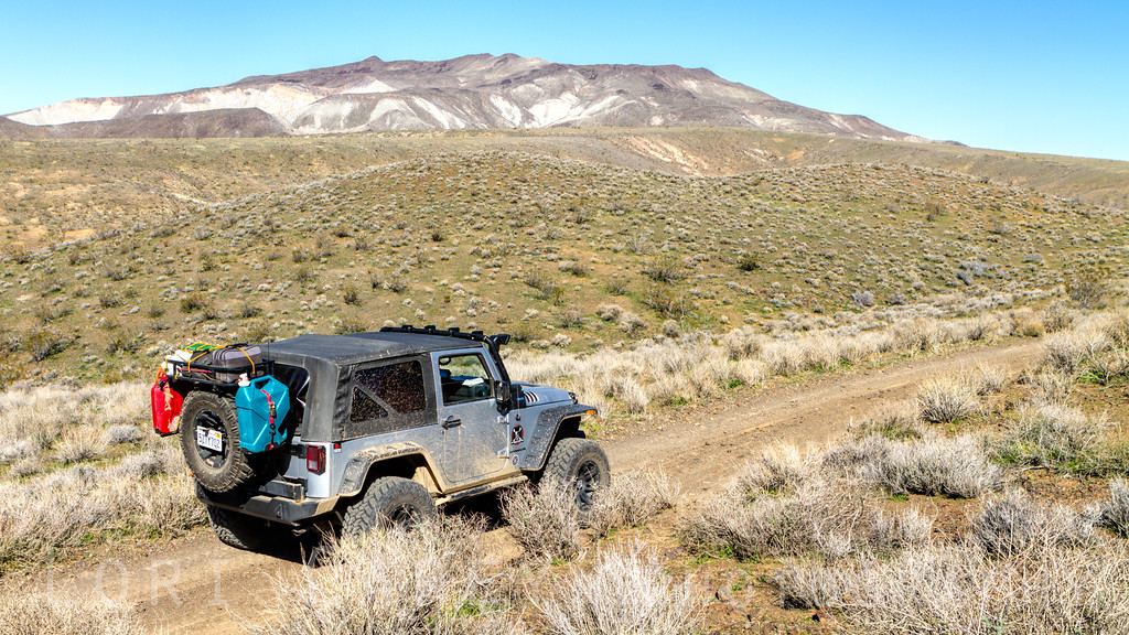 Jeep off road in the El Paso Mountains, Mojave desert, California