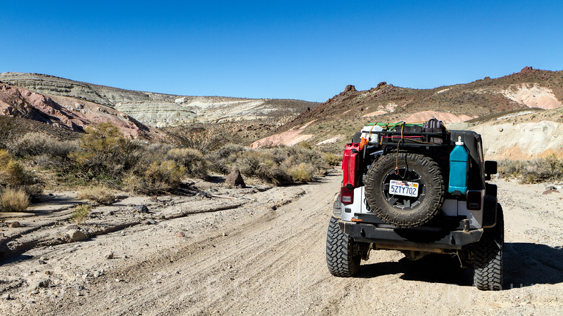Jeep on the trail in the El Paso Mountains, Mojave Desert, California