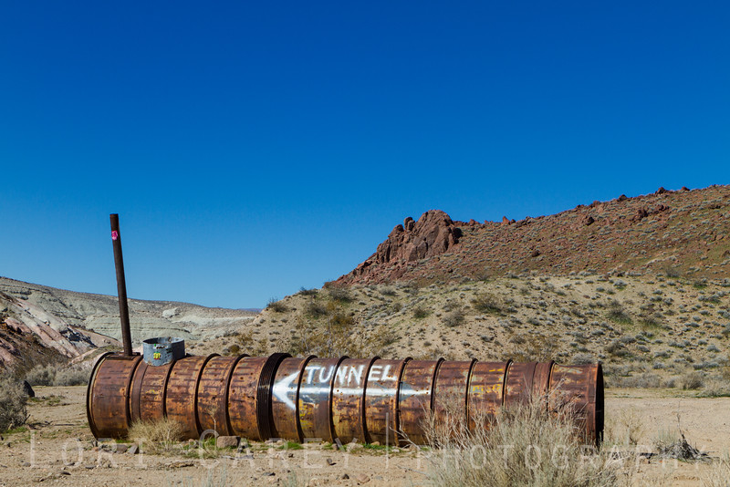 Creative sign pointing the way to the Burro Schmidt Tunnel in the El Paso Mountains, Mojave desert, California