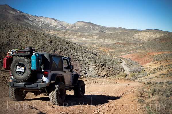 Jeep on trail in El Paso Mountains, Mojave Desert, California