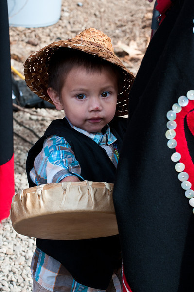 Lower Elwha S'Klallam boy with drum.