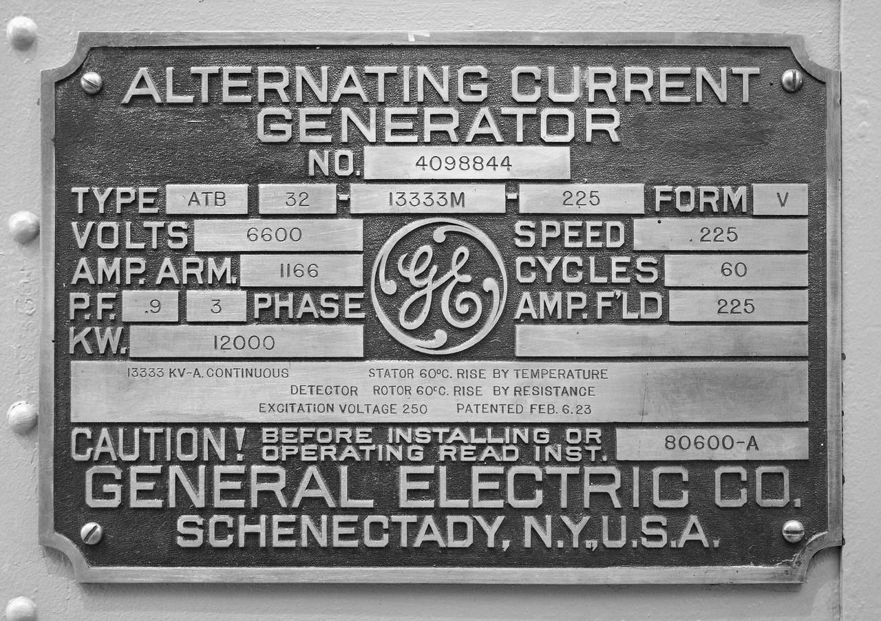 Generator Label, Glines Canyon Dam, Olympic National Park, Washington.