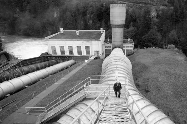 Elwha Dam and Bureau of Reclamation Engineer on Penstock Stairs.