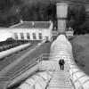 Elwha Dam and Bureau of Reclamation Engineer on Penstock Stairs.
