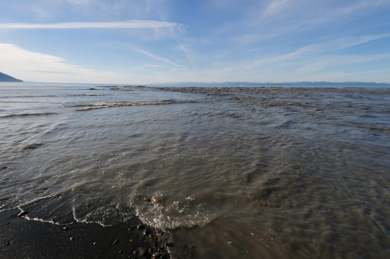 Sediment at mouth of Elwha River, Strait of Juan de Fuca.