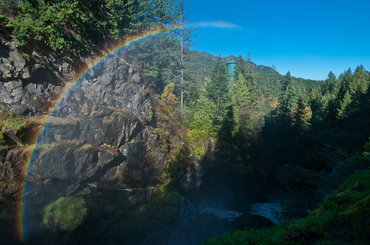 Water Tower and Rainbow, Glines Canyon Dam, Elwha River, Olympic National Park,Washington.