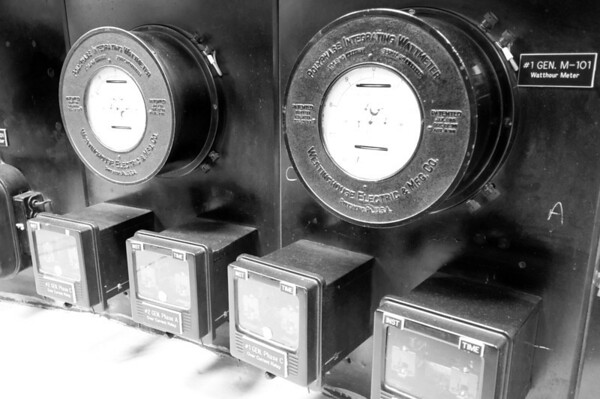 Watthour Meters, Control Room, Elwha Dam, Washington.