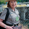Olympic National Park Ranger with Salmon, September 17, 2011, Dam Breaking Ceremony, Elwha Dam, Washington.