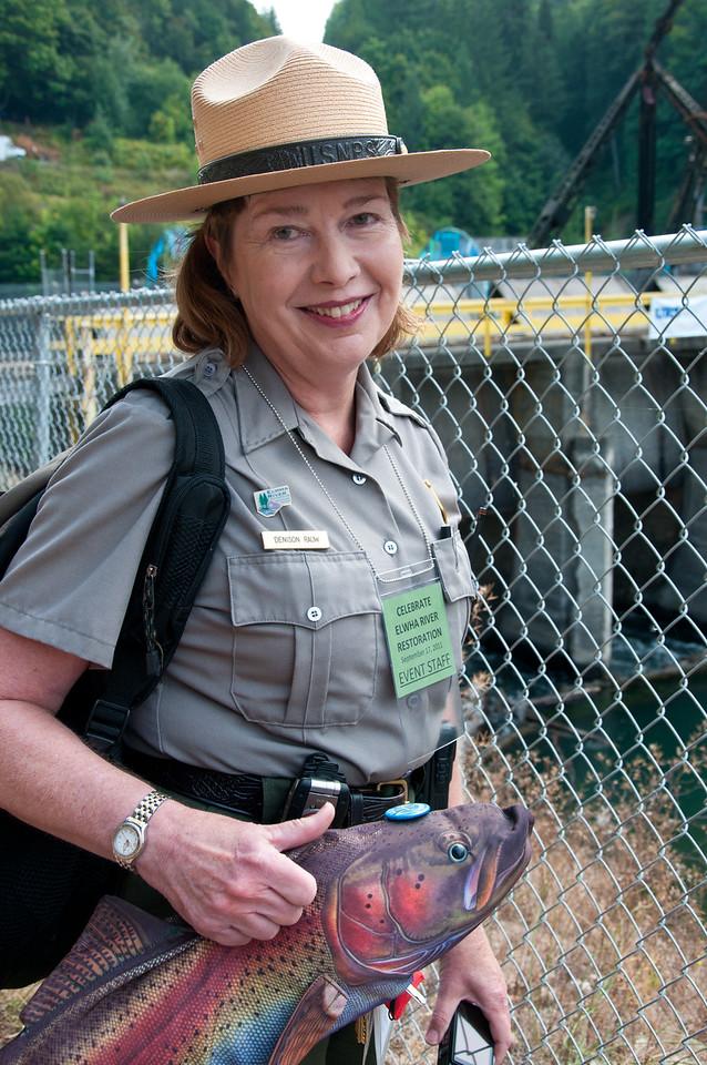 Olympic National Park Ranger with Salmon, September 17, 2011, Dam Breaking Ceremony, Elwha Dam, Washington.