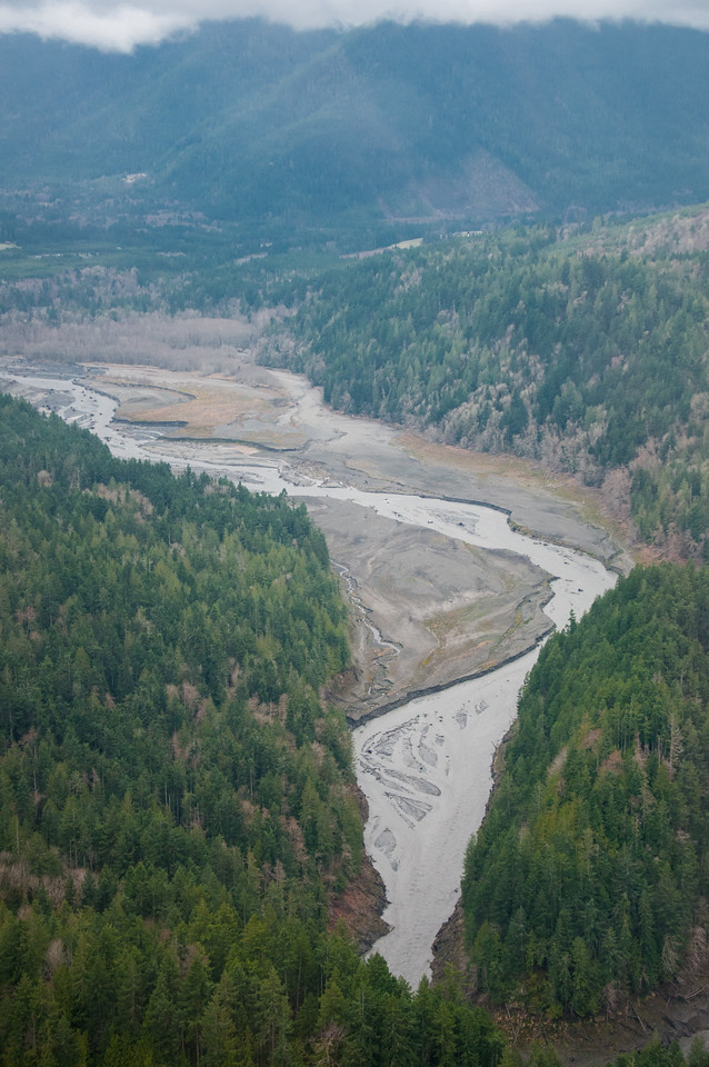 Aerial view of Elwha River and sediment in former Lake Aldwell.