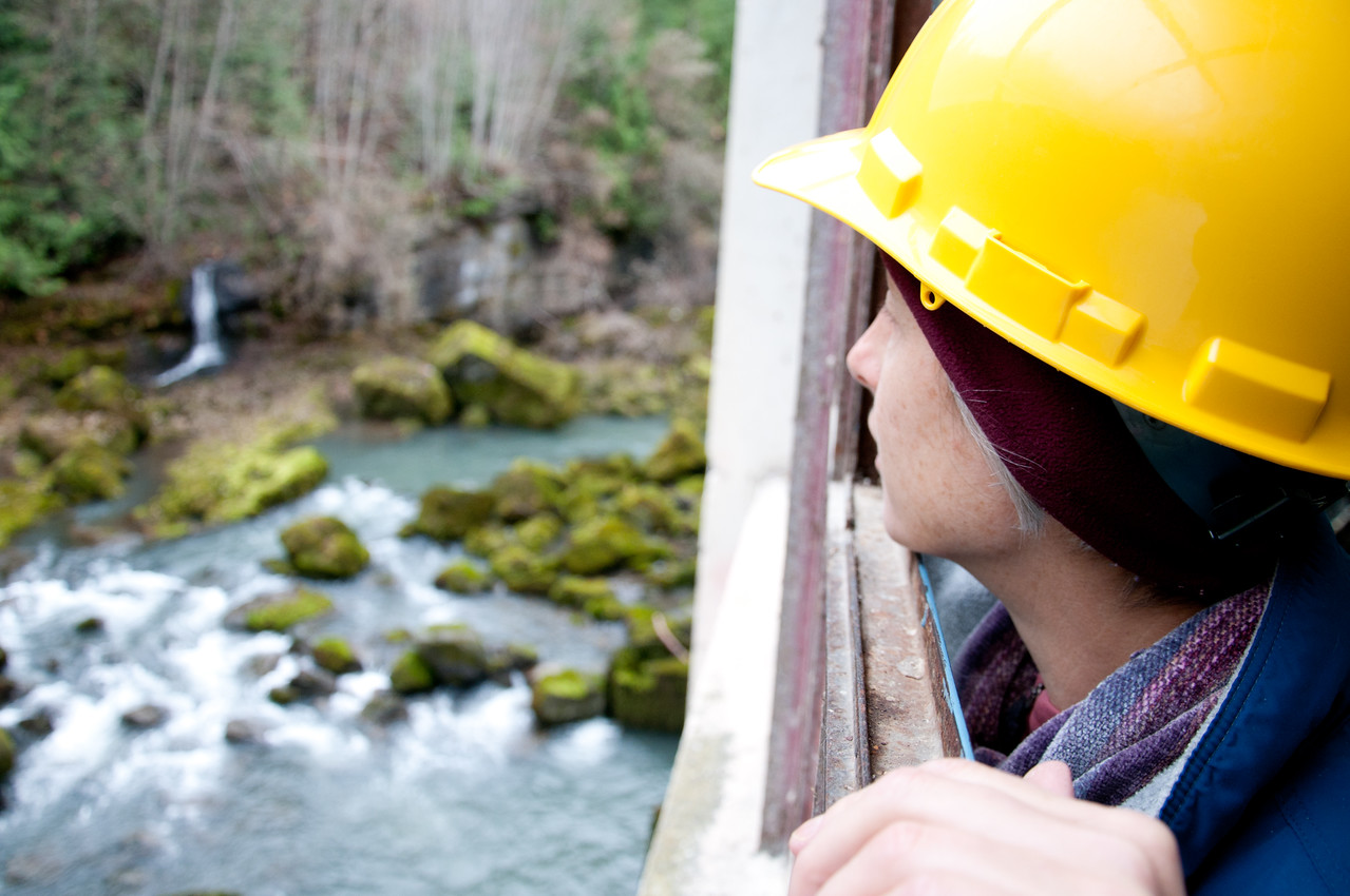Looking out of Control Room, Elwha Dam, Washington.