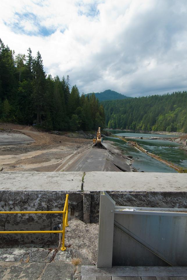 September 17, 2011. First Day of Dam Deconstruction, Elwha Dam, Washington.