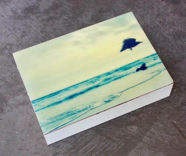 BeachRavens2.4x6.Photo/Encaustic/Panel