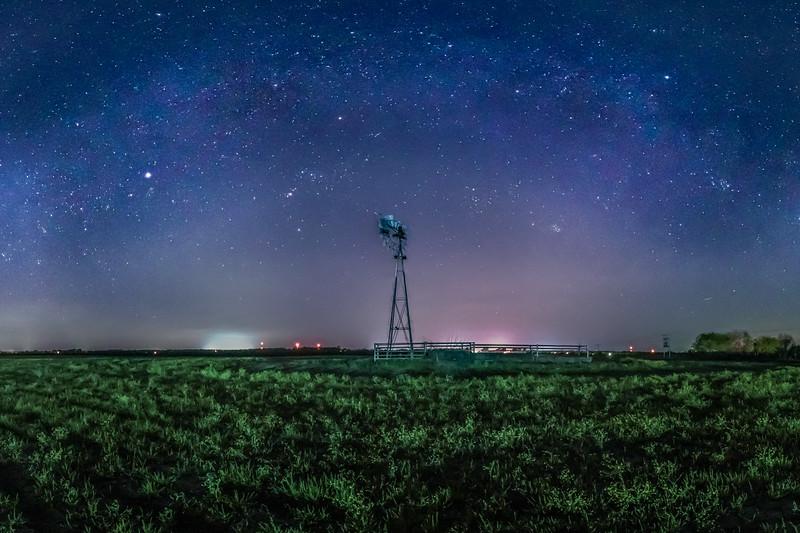 Winter Milky Way over Windmill