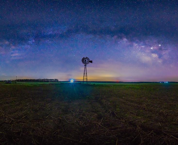 Rainbow at Night above Windmill