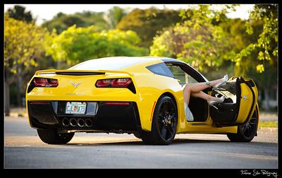 Engagement photo shoot of Dominique & Jesus w/Yellow Corvette 2014