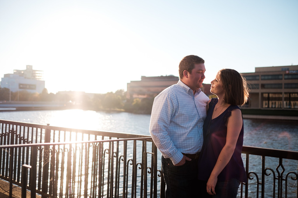 Katy and Brent's downtown autumn engagement session in Rockford IL.