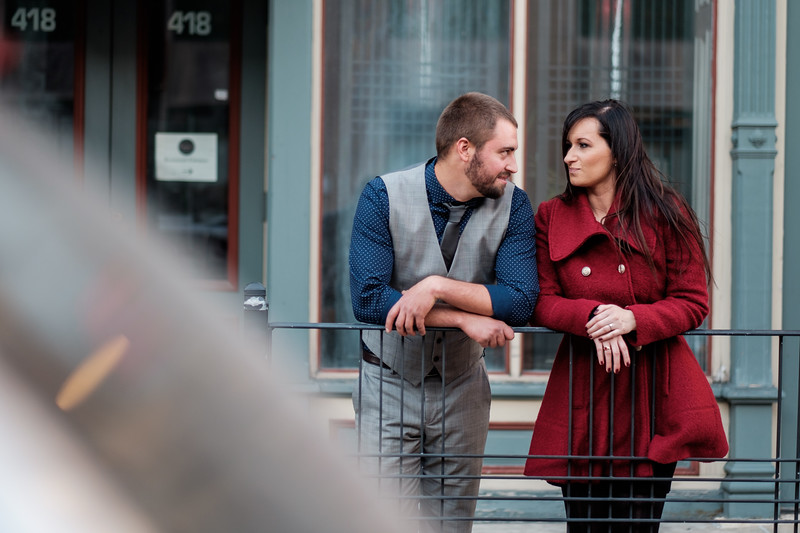 Engagement photos from downtown Rockford, IL and Sinnissippi Park using loving fall colors!